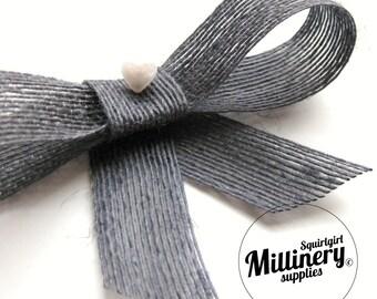 "Vintage Swiss Natural Woven Fiber Grey Crinoline (crin, horsehair braid) 1"" Wide Hat Trim Ribbon 3 Yards"