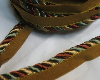 Green Rusty Red and Sage Green  1/4  inch  Decorative cord with lip