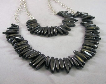 Charcoal Gray Hematite Necklace