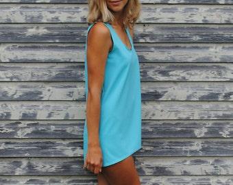 Sky Blue Tank Top Casual Trends Flattering Tank Handmade Top Spring Summer Trends T-Shirt Size S M