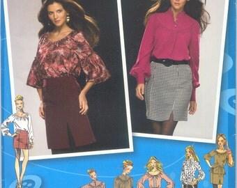 UNCUT - Skirt & Blouse Pattern - Project Runway Simplicity 2756 - Sizes 4, 6, 8, 10 and 12 - Skirt Pattern - Blouse Top Pattern