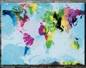 Watercolor World Map - 36x48 Canvas Print (multiple color options)