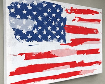 American flag - Canvas Print / Watercolor paint