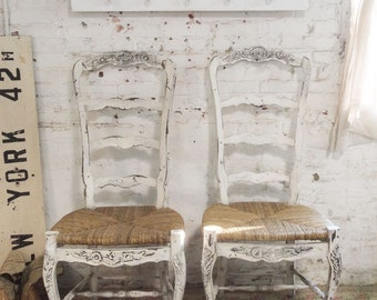 Painted Cottage Chic Shabby Farmhouse  Chair CHR56