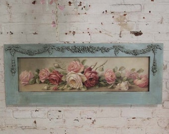 Painted Cottage Chic Shabby Romantic Christy Rapasy Rose Canvas Print HD60