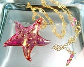 Starfish Necklace, Beach Jewelry, Statement Lampwork Necklace, Gold Summer Jewelry, Pink, 24K Gold Fumed LUXE