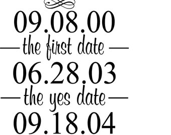 Quote-The first date, the yes date, the best date, plus custom names and dates