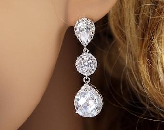 Haviva -  Luxe Cubic Zirconia Teardrop Earrings, Bridal Earrings, Silver Bridesmaid Earrings, gifts for her, Wedding Bridal Jewelry