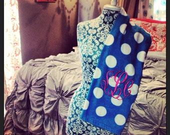 Personalized monogrammed beach towel. Polka dot leopard zebra animal print.  Bridesmaid bride sorority. Personalized