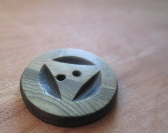 """Mid-Century Button, With """"wood grain"""" Detail, Only One Available"""