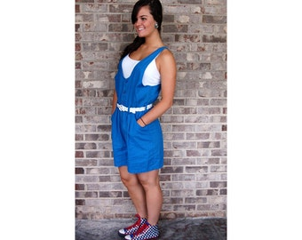 1980s overalls, 1980s Gitano shorts, 1980s romper, one piece shorts, royal blue, slouchy, size M