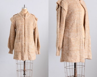 vintage sweater  -  long sweater / sweater coat  / double neck sweater