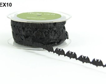Bat Ribbon - Black - 1 inch  - You Choose Yards