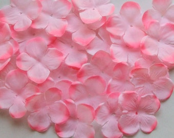 Pink Hydrangea Fabric Flower Embellishment - 50 count