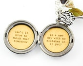 Anne of Green Gables Quote - Women's Locket - Isn't it nice to think that tomorrow is a new day with no mistakes in it yet
