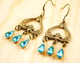 SALE - Victorian Vintage Turquoise Rhinestone Earrings -Chandelier Earrings Vintage Jewels- December Birthstone, December Birth