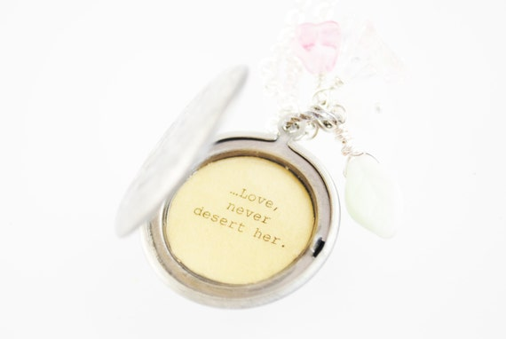 L.M. Montgomery Quote Necklace - Women's Locket - Life, deal gently with her...love, never desert her