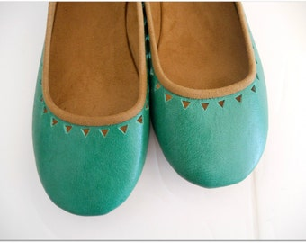 AZTEC- Ballet Flats - Leather Shoes - 38- Sea green Leather