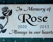 "Free Shipping- Rose Design Garden Memorial Plaque -12x6"" Personalized & Sandblasted"