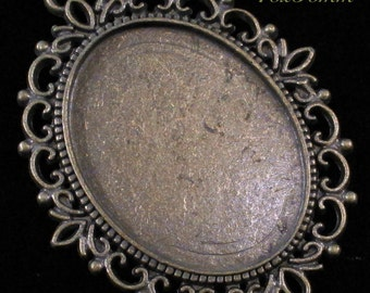 40x30mm Antique Bronze Setting - Old World Lace - 1 pc : sku 07.04.13.6 - V15