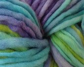 Bulky / Chunky Weight Hand Painted Wool Yarn Pencil Roving in Mermaid Cove 60 yards Aqua Purple Green
