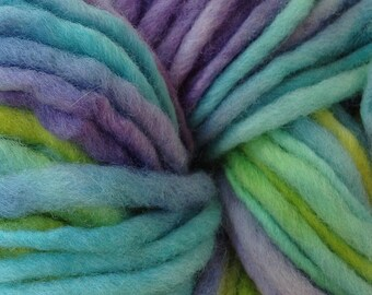 Bulky / Chunky Weight Hand Painted Wool Yarn Pencil Roving in Mermaid Cove 60 yards