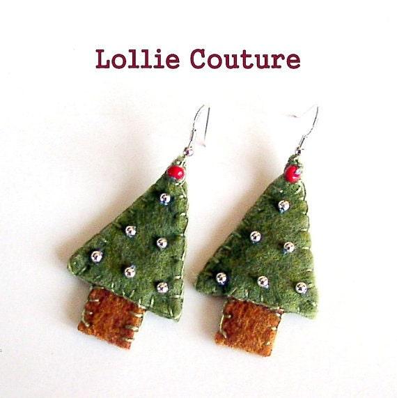 Christmas Tree Earrings, Christmas, holiday, earrings, jewelry, felt earring, holiday gifts under 20
