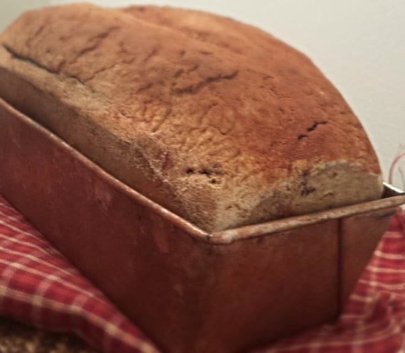 Primitive bread loaf fake bread in a rusty tin by for Artificial bread decoration