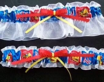 Kansas Jayhawks Wedding Garter Set, Handmade, Can Be Personalized