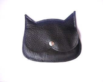 Black Leather  Cat coin purse, mini pouch, made to order