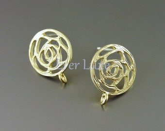 2 Round rose silhouette earrings, brass metal earring components, stud earrings for jewelry making supplies 1665-MG (matte gold, 2 pieces)