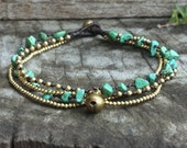 Green Turquoise Brass Chain Anklet