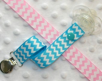 Chevron Pacifier Soothie Clip Holder, Light Pink or Turquoise