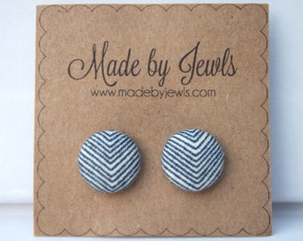 Fabric Covered Button Earrings - Arrowhead - Chevron - Buy 3, get 1 free