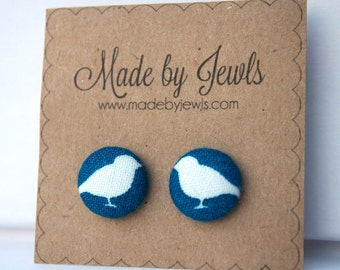 Fabric Button Earrings - Cobalt Canary - Buy 4 get 1 free