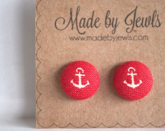 Fabric Button Earrings - Smooth Sailing - Buy 3 get 1 free