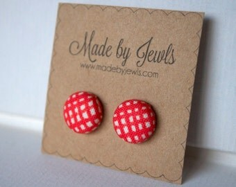 Fabric Covered Button Earrings - Coral Red Plaid - Buy 3, get 1 FREE