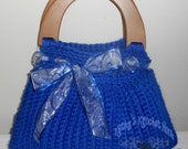 Winter Blue Holiday Terrificfally Textured Crochet Tote - blue, crochet, holiday, white, purse, bag, tote, tote bag, evening bag, market bag