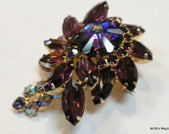 Vintage Juliana Helitrope Margarita Brooch Purple Rhinestones Aurora Borealis Accents