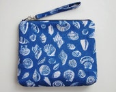 Wristlet - Clutch - Blue and White Seashells Pouch - Removable Strap - On Sale