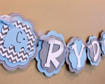 Elephant Chevron Stripe and Polka Dot NAME Banner Baby Light Blue and Gray Baby Shower Birthday Party Decorations Wedding Banner