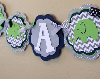 Elephant Chevron Stripe and Polka Dot IT'S A BOY Banner Navy Blue Lime Green Gray Baby Shower Birthday Party Decorations Banner