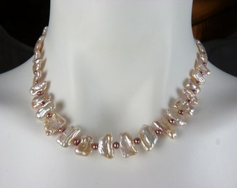 Natural Color Blush Pink Freshwater Tile Pearl Necklace, 14K GOLD CLASP, Extremely Lustrous Pearls, Luxurious and Unusual