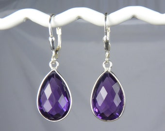 Rich Grape Purple Amethyst Quartz Earrings with Faceted Gems Set in Silver Bezels on Sterling Silver Leverback Ear Wires