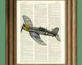Chance Vought F4U Corsair WWII Airplane fighter vintage dictionary page book art print