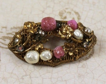 Vintage Golden Filigree Oval Pink, Pearl and Rhinestone Brooch