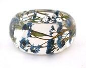 Forget Me Nots Resin Bracelet -  Handmade Resin Jewelry -  Pressed Flower Bracelet for the Gardener or Nature Lover. Engraved