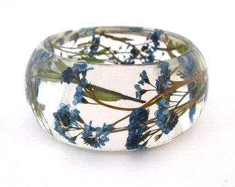 Size Medium Forget Me Nots Resin Bracelet -  Handmade Resin Jewelry -  Pressed Flower Bracelet for the Gardener or Nature Lover. Engraved