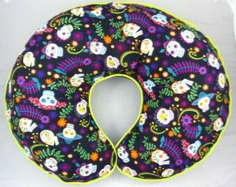 Day of the Dead Boppy Cover Flower Skulls Nursing Pillow