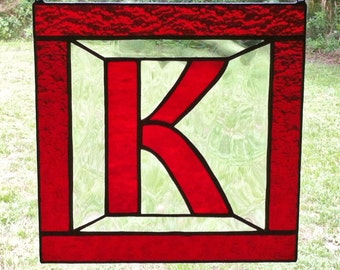 "Letter ""K"" Initial CUSTOM Stained Glass Suncatcher Pick Your Own Colors Great Gift"